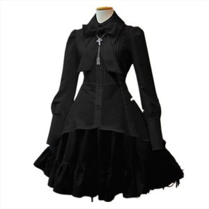 Summer Elegant Party Black Evening Gothic Women Lolita Dresses Big Size Bow Collar Pleated Lace Up Goth Vintage White Chic Dress