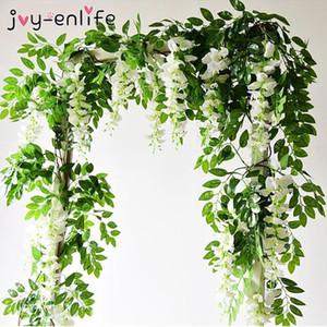 1.90M Wisteria Artificial Flowers Vine Garland Wedding Arch Decoration Fake Plants Foliage Rattan Trailing Faux Flowers Ivy Wall
