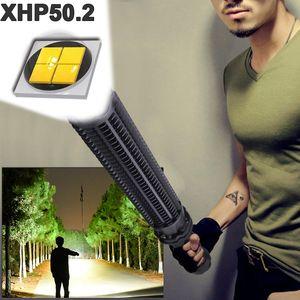 1000000 lumens XHP50.2 super powerful tactical flashlight led self defense Telescopic bat xhp50 waterproof rechargeable torch 210322
