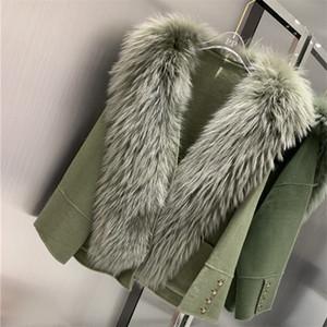 Fashion Real Fur Coat Giacca Invernale Donne Donne Natural Raccoon Colletto in pelliccia Cashmere Blends Blends Capispalla Streetwear Inverno caldo LJ201128