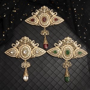 Large Moroccan style jewelry brooch classic gold crystal hollow-out brooch with rhinestone Arab wedding jewelry 201214