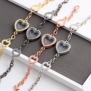 10pcs lot New Heart Floating Locket Charm Bracelet & Bangles Rhinestone Glass Living Memory Locket Pendant Bracelets Women Y1125