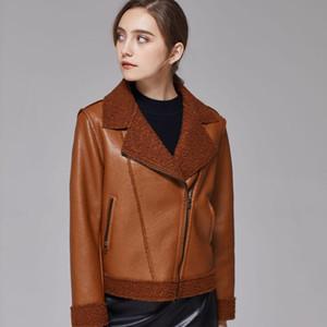 Women Faux Sheepskin Shearling Coat New Warm Suede Jacket Motorcycle Lamb Fur Coats Brown Leather Jacket 2021 Autumn Winter