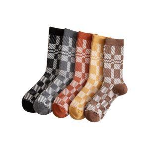 Women Lattice Knitted Sock Lady Autumn Winter Double Needle Two Way Fashion Plaid Warm Medium Socks 4 1ms J2