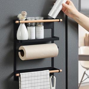 Magnetic Paper Shelf Frigorífico toalha de rolo suporte magnético armazenamento Rack Spice Pendure rack de metal decorativa prateleira da cozinha Organizer