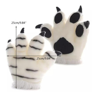 Simulation Tiger Plush Gloves Striped Fluffy Animal Cosplay Stuffed Mittens 270D