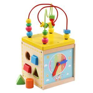 Children Educational Preschool Wooden Toys Montessori Activity Cube Toy Baby Bead Maze For Toddlers Oyuncak Brinquedo Para Bebe Z1124