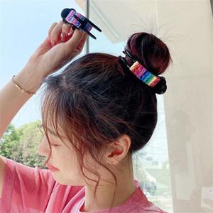 6 Color Ins Новые конфеты Pair Pins Мода Rainbow Hairpin Girls BUN Maker Зажимы для волос Зажим DIY Инструмент Аксессуары для волос Оптовая PPF 45 L2