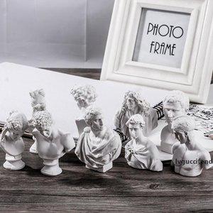 10Pcs set Ares Agrippa Sculpture Giuliano de Medici Marcus Junius Brutus Statues Resin Plaster Art&Craft Home Decorations L2713 T200330
