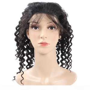 Cheap 8A Brazilian Deep Wave Lace Frontal Wigs Medium Size For African Americans Woman Human Hair Wigs Wholesale Price Free Shipping