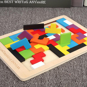 Kids Cartoon Animal Tetris Puzzles Wooden Tangram Jigsaw Board Puzzles Tetris Game Educational Toy For Kids Toy Gift