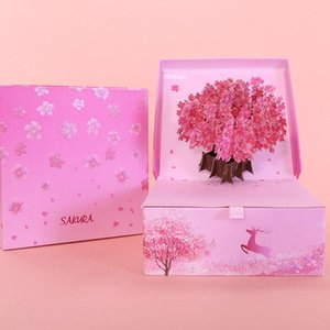 1 Set 2in1 Cardboard Wedding Gift Boxes Bag Candy Box + 3D Cherry Blossoms Sakura Greeting Card Wedding Package Party Supply