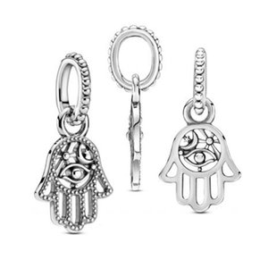Lucky Fatima Handmade Charm 925 Sterling Silver Protective Hand Support Charm Bead Suitable for Pandora Bracelet DIY Ladies Jewelry