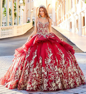 2021 Red Luxury Quinceanera Dresses Spaghetti Prom Dress Bling Lace Appliqued Glitter Girls Pageant Gowns Ball Gown Sweet 16 Dresses