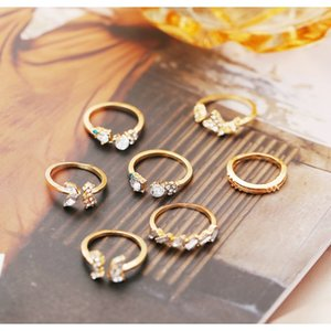50691 New Joint Ring Diamond Butterfly Flower 7set Retro Crystal Ring 50691 New sqcyUI hat7890