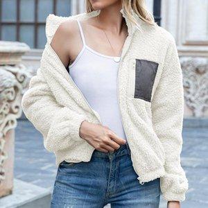 Elegant Women's Fleece Coats Solid Turn-down Collar Full Length Sleeves Zip-up Women Jackets Office Lady Winter Clothing 2020