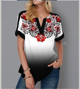 Plus Size 4xl 5x Pullovers Blouse shirt Boho Print Lace Splice Womens Tops V neck Loose 2020 Casual Summer New Female Tee