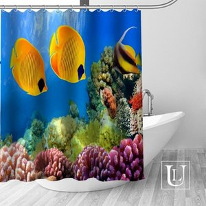 High Quality Custom Fish Shower Curtain Polyester Fabric Bathroom Curtain Hooks Mildew Resistant Bathroom Decor