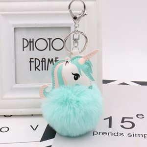 luxury fashion Unicorn fur ball bag pendant imitation rex rabbit color matching pony plush car pendant fur ball keychain wholesale