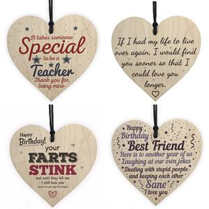 Xmas Wooden Love Amore Decorazioni natalizie regalo Placca Pendente a forma di cuore Lettera Amicizia Vino bottiglia di vino Decor Pendant Tag W-00450