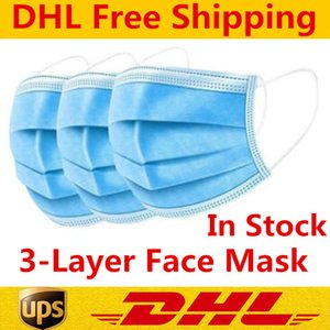 DHL Free Shipping Disposable Face Masks 3-Layer Protection Mask with Earloop Mouth Face Sanitary Outdoor Masks