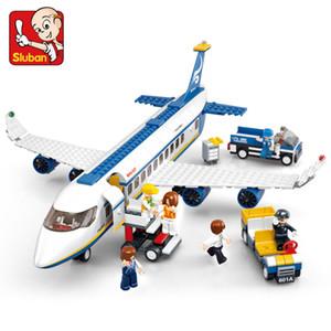 Sluban City Series Aéroport aéronautique Moderne Avion Avion Avion Technique Technique Modèle Bricolage Bâtiment Blocs des Jouets pour enfants Enfants Q1126
