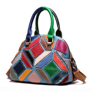 Summer 2020 new leather shoulder bag top layer cowhide check stripe color contrast stitching handbag European and American fashionable women