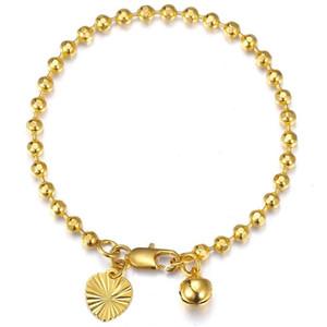 Enlace, cadena de oro amarillo relleno facetado Pulsera de enlace con cuentas para bebés Niños Heart Bell Charms Bangle Fashion Jewelry Gift GB443