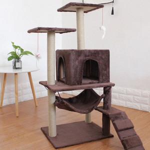 4 Cats Using Cat Bed Mat House Scratchers Toy Strong Load-bearing Floor Structure Cat Furniture Amusing Pet Supplies 115x48x42cm d8L6#