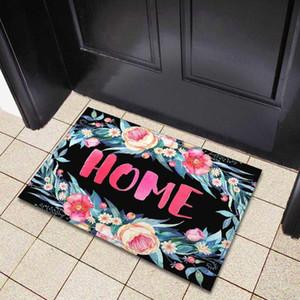 Zeegle Flower Leaf Printed Doormats Outdoor Absorbent Bathroom Mats Home Entrance Mats Anti-slip Bedroom Carpets Bedside Rugs
