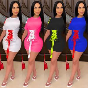 Herbst und Winter Neue Frauen Mode Lace Up Casual Home Color Kontrastkleid Slim Kurzarm Bandage Designer Multi Color Dresses