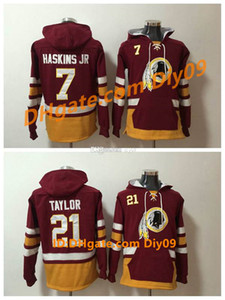 MenWashingtonRedskinsHoodie 21 Sean Taylor 29 Derrius Guice 7 Dwayne Haskins Hoodie JR American Football Pullover Sweatshirt