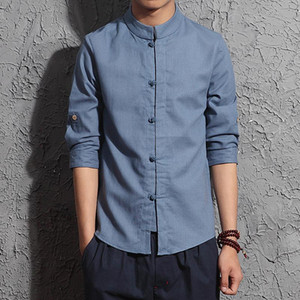 Erkekler Pamuk Keten Gömlek Üç Çeyrek Kol Gömlek Tai Chi Suit Çin Tarzı Tang Giyim Hombre Camisa