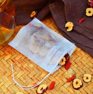 100pcs lot tea bag food grade material made filter single drawstring teabags disposable tea infuser strainer sachet seasoning bag tea tools