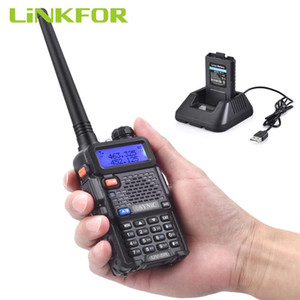 LiNKFOR UV-5R 2-Way Walkie Talkie 5W Dual Band UHF VHF Radio + Earpiece 128 Channels LED Portable Two-Way Radio