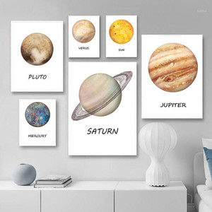 The Solar Syetem Wall Art Painting Ten Planet Canvas Poster Print Saturn Earth Picture Nordic Room Decoration1