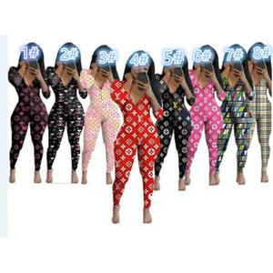 10 colors Women Nightwear Playsuit Workout Button Skinny Hot Print long sleeve Jumpsuits V-neck Onesies Women Plus Size Rompers 8798