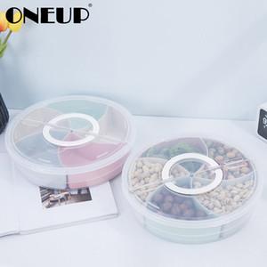 Caja de almacenamiento de dulces de bocadillos de plástico de OneUP con tapa Regalo de Navidad Decoración de bodas Fruta Melón Semillas Semillas Titular de la caja de almacenamiento Z1123