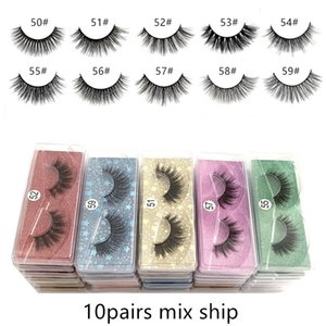 3D Mink Eyelashes Wholesale 10 styles 50-59# 3d Mink Lashes Natural Thick Fake Eyelashes Makeup False Lashes Extension In Bulk free shipping