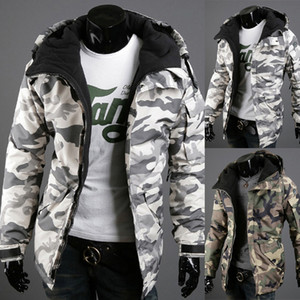 Men's British style camouflage printed cotton-padded jacket Chic&Trend down coat students plus velvet thicken hooded jacket