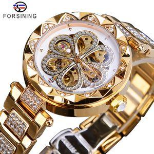 Forsining Mechanical Women Watch Top Brand Luxury Diamond Female Watches Automatic Gold Stainless Steel Waterproof Ladies Clock