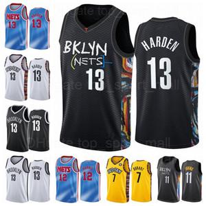 Basketbol 13 James Harden Jersey 7 Kevin Durant 11 Kyrie Irving 1 Bruce Brown 8 Jeff Yeşil Şehir Kazanılan Klasik Baskı Siyah Mavi