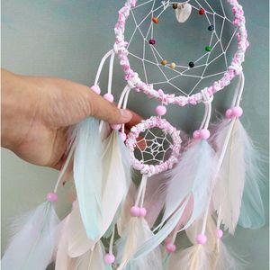 Colorate a mano Dream Catcher piume da auto e Wall Hanging Decoration ornamento regalo Wind Chime Craft Decor Supplies DWE2862