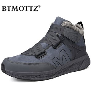 Leather Men Boots with Fur Keep Warm Snow Boots Men Winter Work Casual Shoes Hiking Sneakers High Top Rubber Ankle Boots Female 201124