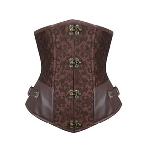 Burvogue Waist Control Steampunk Corsets and Bustiers Leather Corsets Sexy Women Gothic Underbust Corselet Steel Boned Corsets Y1119