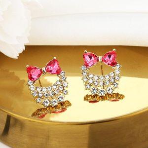 스터드 트렌디 한 절묘한 Bowknot 핑크 크리스탈 귀걸이 여성 디자이너 창의력 럭셔리 보석 S925 바늘 고품질 지르콘