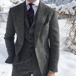 Erkek Takım Elbise Blazers 2021 Herringbone Tweed Gri Takım Elbise Erkekler Örgün Iş Damat Düğün Ternos Slim Fit Smokin 3 Parça (Ceket + Yelek + Pantolon)