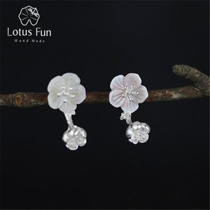 Lotus Fun Real 925 Sterling Silver Natural Creative Handmade Fine Jewelry Unique Begonia Flowers Drop Earrings for Women Brincos J1204