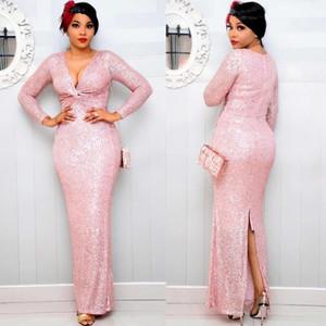 여성을위한 MD Split Long Dresses Sequin Shiny Evening Dress 2021 New African Bodycon Sexy Gown Dashiki Robe 유럽 의류 1