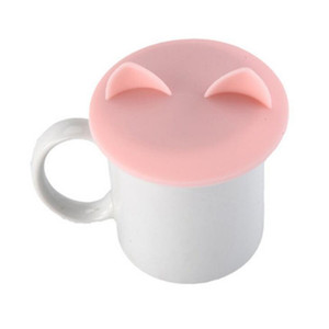 150 قطع جميلة القط الأذن الغذاء الصف سيليكون غطاء كاب القهوة القدح كوب غطاء تسرب مقاومة الحرارة مختومة DDD3219